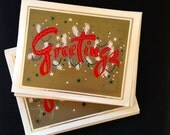 Vintage Holiday Christmas Greeting Card Set -Greetings GLITTER  Lot of 10 cards