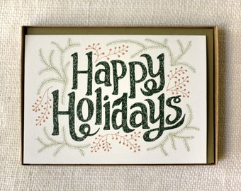 Sale 50% Off - Holiday Card Set of 6 - Fir Fronds