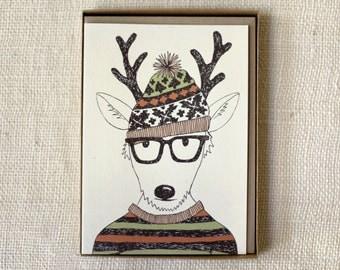Sale 50% Off - Holiday Card Set of 6 - Hipster Reindeer