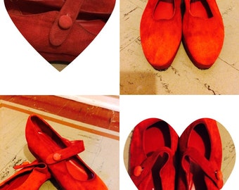 Vintage 60s Style Red Suede MaryJanes