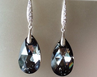 Swarovski Black Night or Paradise Crystal Earrings vs II, Pave Sterling Silver, Drop, Dangle, Prom, Bridal, Formal, Bridesmaid