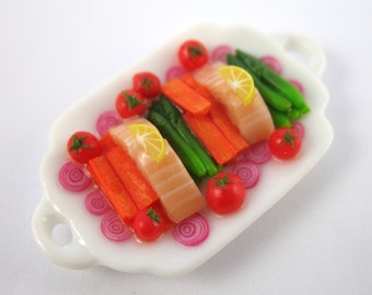 Dollhouse Miniature Food Salmon and Vegetable Platter in 12th Scale