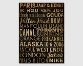 Custom - MADE To ORDER Typographic Wall Art Gallery Wrapped Canvas SIGNED Anniversary Birthday Wedding