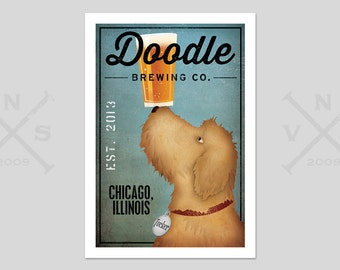 Doodle and Others Goldendoodle Labradoodle FREE CUSTOMIZATION  Brewing Company  Print Dog Art Beer Sign
