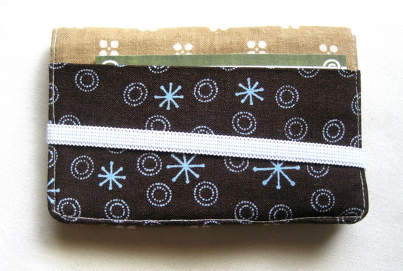 Business Card Holder Mini Wallet- Bifold Inside Outside Wallet in Brown Tan Kakhi Fabric
