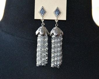 Vintage 60s Mod - Grecian a Go Go - Silver Dangle Tassel Earrings - Sarah Coventry