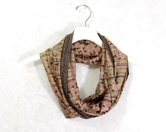 Tan Silk Scarf Silk Infinity Scarf Gift for Her Sari Scarf Spring Scarf Summer Scarf Lightweight Scarf Brown Scarf Upcycled Scarf OOAK
