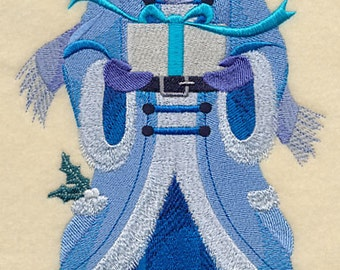 Blue Christmas MRS CLAUS - - Machine Embroidered Quilt Blocks (AzEB)