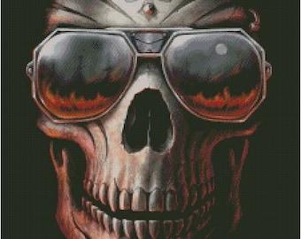 Skull With Glasses Cross Stitch Pattern