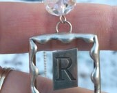 Metal Initial Soldered Art Glass Pendant, Floating Letter Charm Necklace