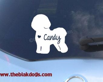 Bichon Frise Silhouette Vinyl Sticker Car Decal Personalized