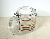 Arc Bale Top Bright Striped Canning Jar 3/4L Made in France
