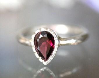 Rhodolite Garnet Sterling Silver Ring, Gemstone Ring, Milgrain Details Inspired, Teardrop Shape, Engagement Ring - Made To Order