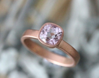 Genuine Kunzite 14K Rose Gold Ring, Gemstone RIng, Cushion Shape Ring, Eco Friendly, Engagement Ring, Stacking Ring - Made To Order