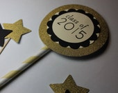 gatsby . Graduation Class of 2016 Glitter Cake Pick Set - gold and black or silver and black