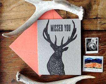 W-206 missed you elk letterpress card