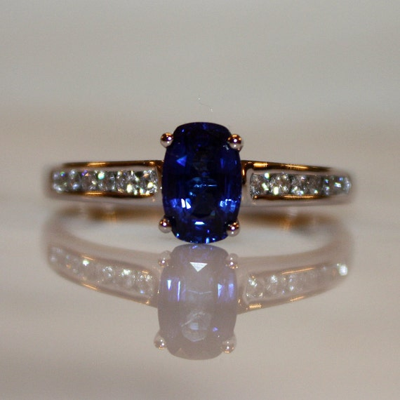 Blue, Ceylon Sapphire1.30cts and .30ct Diamond Engagement Ring, FREE Appraisal Included