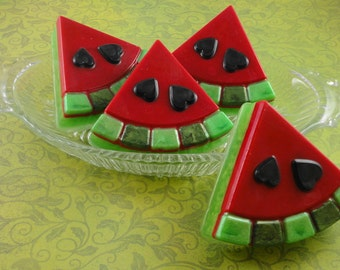 Soap - Two Sweet Watermelon Soaps - Handcrafted - Party Favors - SoapGarden