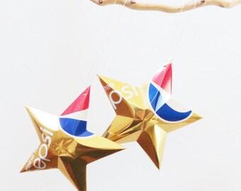 Caffeine Free Pepsi Star Christmas Ornaments Soda Can Upcycled Repurposed Pepsi-cola