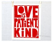 Corinthians, Love is Patient, Wall Art, Sign, Valentine's Day Gift Idea, Wedding Decor, Christian Art, Scripture, Bible Quote