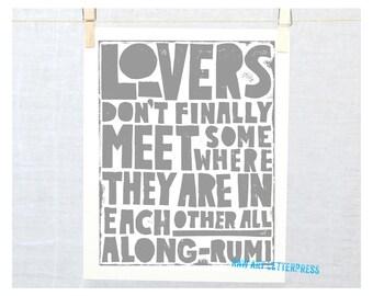Rumi Lovers Don't Finally Meet Somewhere, Bedroom Decor, Wedding, Valentine's Day Gift Idea, Valentine, Wall Art