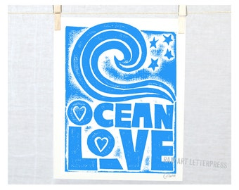 OCEAN Inspirational Art Print Ocean Love Stars Typography Letterpress Poster