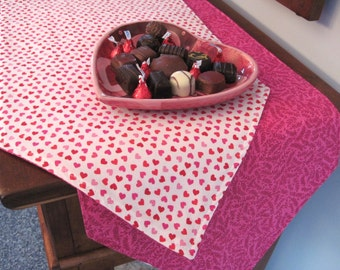 """Valentines Day 90"""" Table Runner Reversible Valentines Hearts Table Runner Pink Hearts Runner Sweetheart Table Runner Valentines Day Runner"""