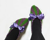 Slippers, Flats, Hand Knitted Women Winter Home Socks, Knit House Shoes, Christmas Gift, Purple Green, Handmade