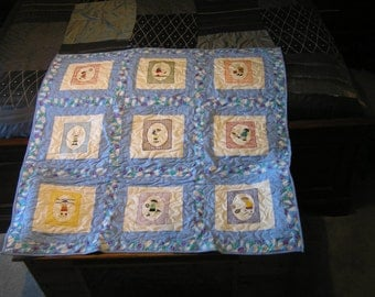 Handmade Baby quilt with machine embroidered boys