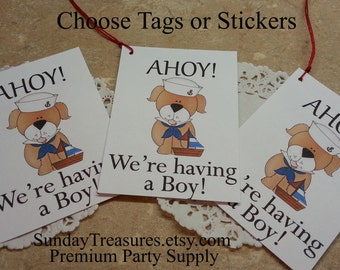6 Ahoy We're Having A Boy /  Baby Shower Party Favor Bag TAGS Label / Cupcake Toppers  (ref-ts)