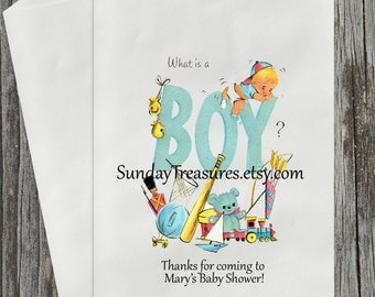 Vintage Baby Boy / Candy Buffet Party Favor Gift Bags / Baby Shower Birthday PERSONALIZED 3 DayShip (refvntg)