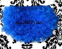 BLOOMERS, Royal Blue Ruffled Diaper cover, Newborn bloomer, chiffon ruffle bloomer,  photo prop