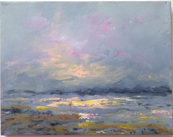 Serene beach painting, misty sunrise over the beach, 11x14 impressionistic painting in dusky blue, peach