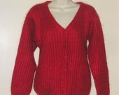 Reduced L L BEAN Vintage  mohair v neck cardigan sweater red ladies womens size M Medium