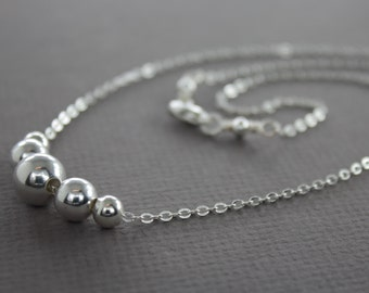 Dainty graduated sterling silver ball beads on chain and a lobster clasp closure - Sterling silver ball necklace