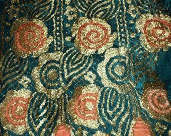 Art Deco 1920s Metallic Lace with Peach Velvet Dress Panel Restoration Project Lampshades