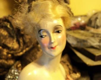 1920s Boudoir Doll Half Lampshade Flapper Metallic Trim Original Restoration Dress Composition