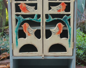 "Woodland - Storage Cabinet - Bird - Beach - Home Decor - Cottage Style - Shabby Cottage - French Country - 26"" tall x 17"" wide x 13"" deep"