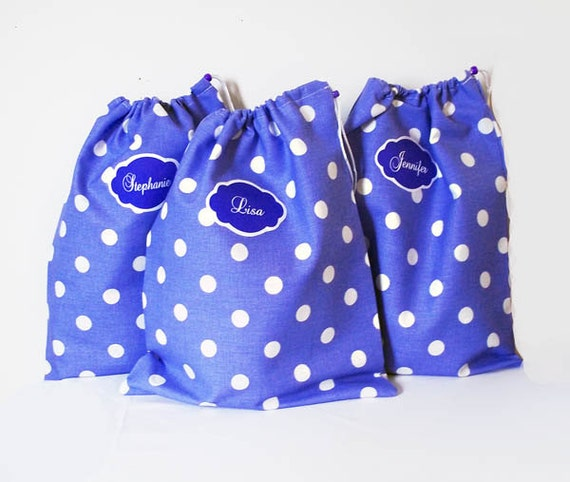 3 Travel Shoe Bags - Purple Polka Dot - Shoe Protectors - Drawstring Bag - Hostess Gifts - Teacher Gift - Bridal Party Gift - Lingerie Bags