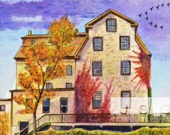 Autumnal Cedarburg Mill 8x10 Watercolor Print