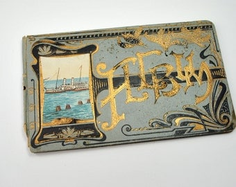Antique album 1916 Art Deco for poems, signed Merry Christmas from your teacher Miss Slovik, Howard Lake Minnesota