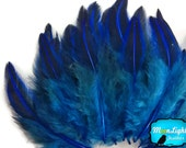 Rare Feathers, 10 Pieces - Royal Blue Jungle Cock Loose Plumage Feather : 3620