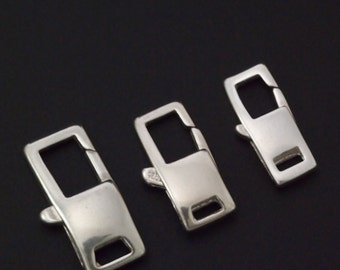 1 Sterling Silver Square Lobster Clasp - Small, Medium or Large - Shiny or Antique - Best Commercially Made - 100% Guarantee