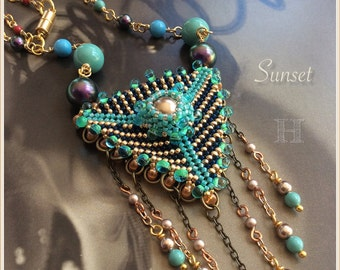 Sunset Necklace: Geometric Triangle Dangles