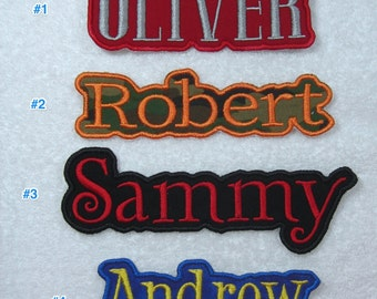 Name Patch Personalized Single Name Patch Fabric Embroidered Iron On Applique Patch MADE TO ORDER