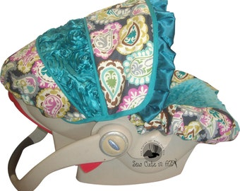 Infant Car Seat Cover Rocco Paisley with Teal Rose