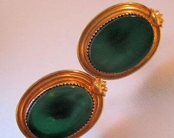 R Inc (Rolyn) Chrysoprase Earrings 12k Gold Filled Screwback Vintage Jewelry Jewellery