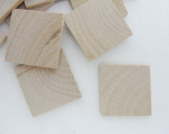 """Wooden tiles, wooden squares, 1 inch (1"""") square, 1/8"""" thick, set of 12"""