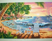SALE - Handpainted Seashore Picture, seaside, ocean, acrylic