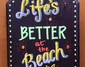 Beach House Sign-Handmade Sign-Wood Sign-Cottage Ocean Seaside Art